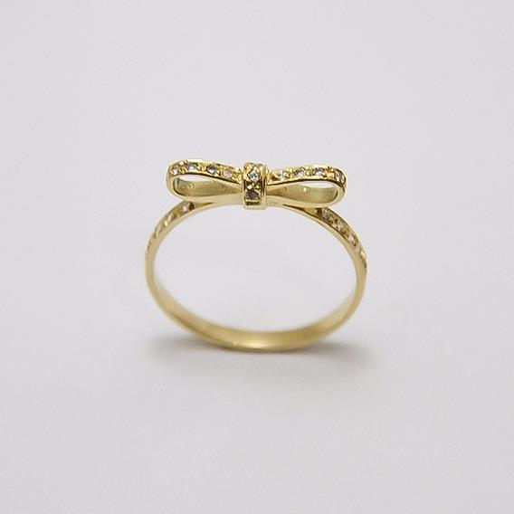 Anel Laço Com Diamantes Em Ouro 18k