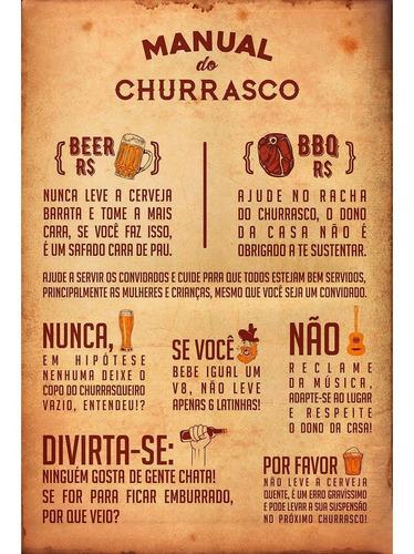 Placa Quadro Decorativo Manual Do Churrasco (v594)