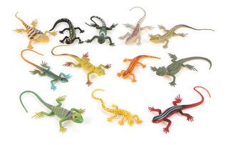 12 Pçs / Set Colorido Simulado Lagarto Modelos Crianças Cria
