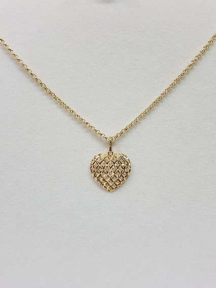 Colar Com Pingente Coração Ouro 18k