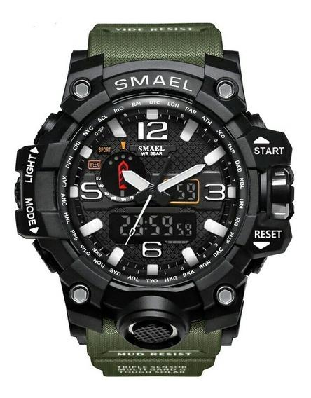 Relógio Masculino Verde Smael 1545 Militar Prova D
