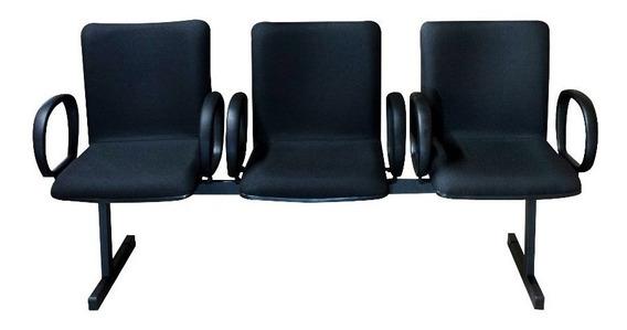 Cadeira Longarina 3 Lugares Cercatto 919 Preto