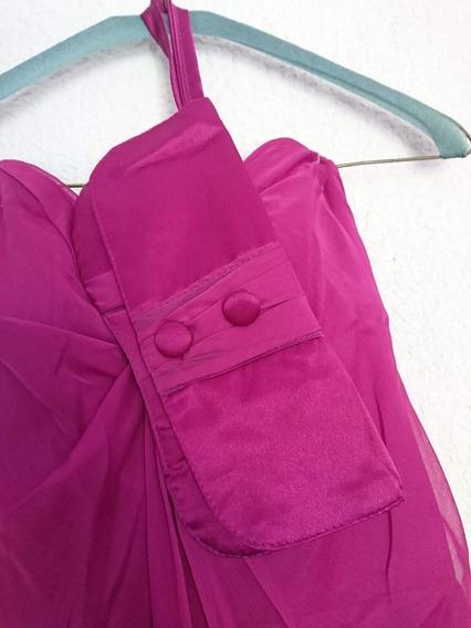 Vestido Fucsia De Cóctel Strapless