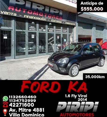 Ford Ka 1.6 Fly Viral 2014, $540.000 Y Cuotas De $8.500