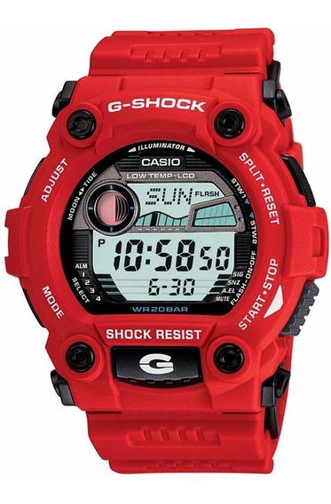 Reloj Casio G Shock G 7900 Rojo Fases Lunares Grafico De Mareas Cristal Mineral Sumergible