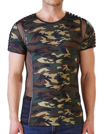 Camiseta Camuflaje Semi Transparente Caballero