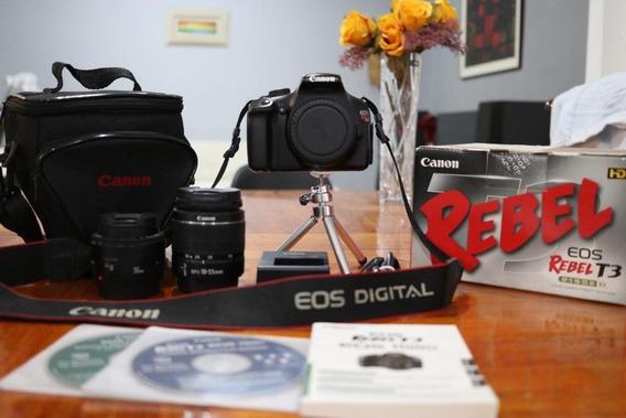 Kit Canon T3 Com Duas Lentes - 18-55mm E 50mm, Bolsa E Tripé