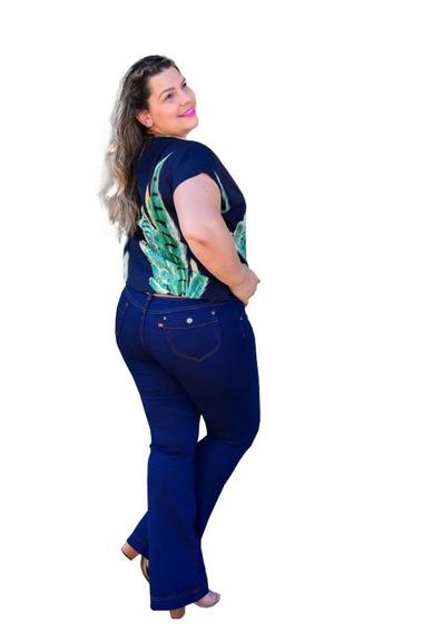 Calça Jeans Flare Feminina Plus Size Lindas Tamanhos Grandes