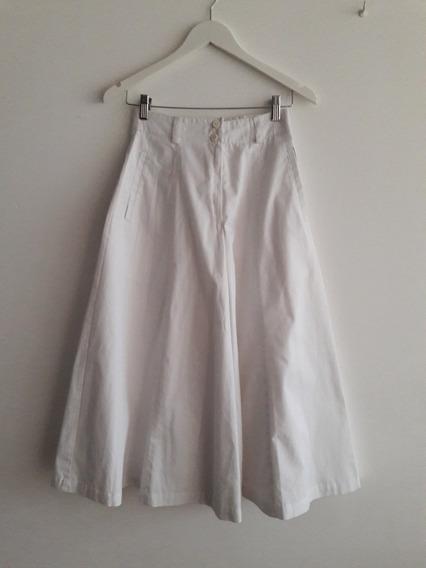 Pollera Pantalón Vintage Tiro Alto Color Blanco Talle S