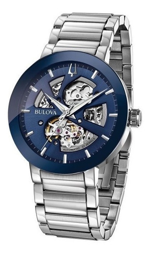 Relógio Bulova Masculino Automático 96a204 Esqueleto Azul