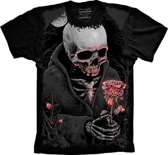 Blusa Feminina Skull Caveira Com Rosa