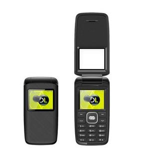 Lote 10 Celular Dl Yc330 Flip Dual Rádio Fm Preto Lacrado