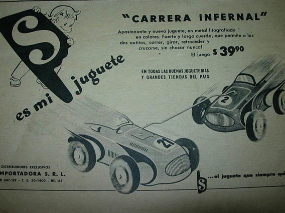 Publicidad Clipping Juguete Antiguo Autos Carrera Infernal