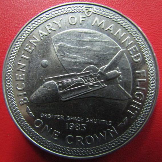 Isla De Man Moneda 1 Crown 1983 Unc 200º Aniv Vuelo Comando