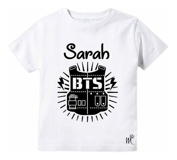 Camiseta Infantil Bts Colete Preto Personalizado Com Nome