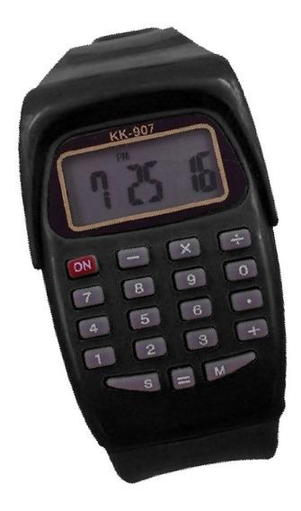 Relógio Calculadora Digital Unissex Presente Preto