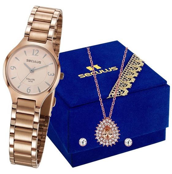Kit Presente Feminino Relógio Colar E Brinco Seculus Feminino 77042lpsvra1k1 - Nota Fiscal Garantia De 2 Anos