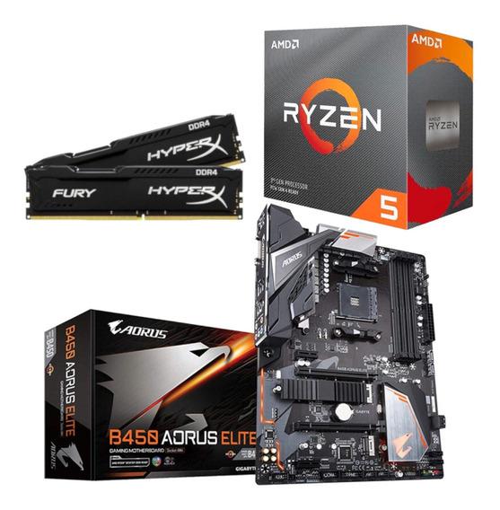 Kit Amd Ryzen R5 3600 Aorus B450 Elite Hx 16gb 2666 Mhz