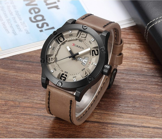 Relógio De Pulso Curren 8251 Pulseira Couro Bege Importado