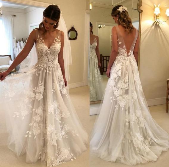 Nb45 Vestido De Noiva Renda Tule Boho Chic Flores Véu Foto
