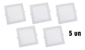 Kit Com 5 Painel Plafon 12w Luminaria Led Quadrado Embutir