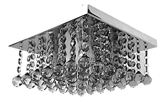 Lustre De Cristal 30x30 Inox Sala Estar/jantar Sofisticado