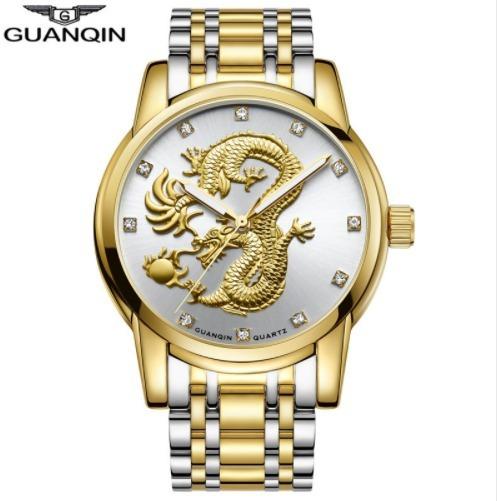 Relógio Quanqin Luxo Escultura Dragão Mascuino Dourado