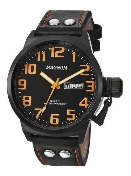 Relógio Magnum Masculino Ma32952j Couro Preto Grande