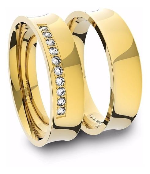 Alianças De Ouro 18k Anatômica Com Diamantes (5.0mm Largura)