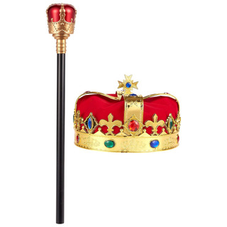Vebe 2-pack Kids King Medieval Crown Imitation Royal Scepter