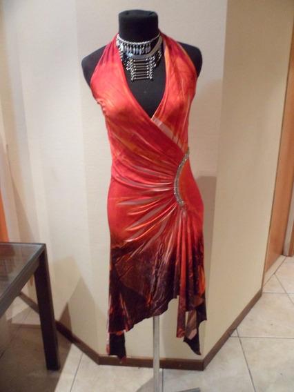 Vestido De Fiesta De Mujer Naranja, Talle M, Elastizado