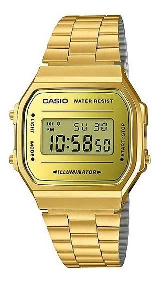 Relógio Casio A168wegm-9df Dourado Retro Vintage Original Nf