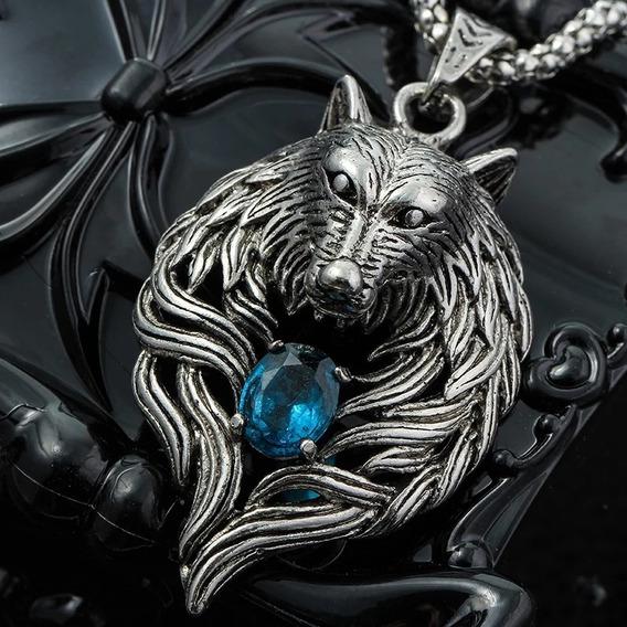 Colar Corrente Longa Prateada Pingente Lobo Pedra Azul Wolf