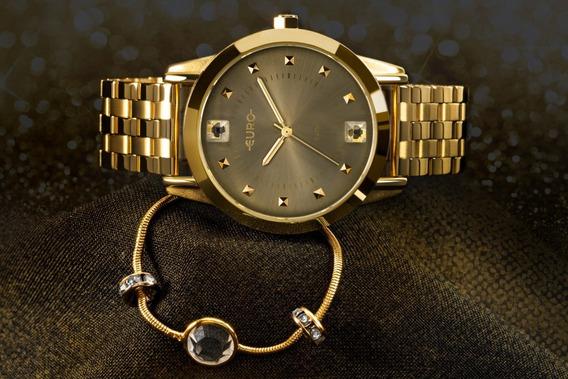 Relógio Feminino Euro Glamour Original+pulseira Eu2035yrtk4d