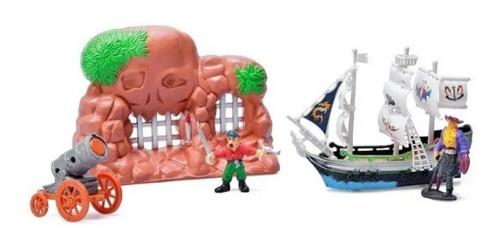 Imagen 1 de 2 de Juguete Barco Pirata Muñecos Accesorios Completo Juego Niños