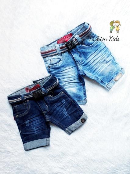 Kit 2 Bermudas Jeans Com Elastano Bebê Fashion Menino