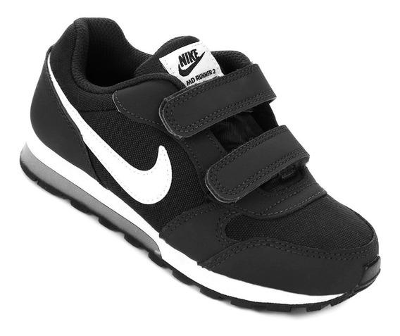 Tenis Infantil Nike Md Runner 2 Ps Sem Cadarço Preto - Original - Sem Juros