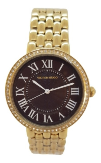 Relógio Feminino Dourado Victor Hugo Vh10136lsg/12m