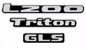 Emblema Adesivo Resinado L200 Triton Gls Mitsubishi Kit 3 Pç