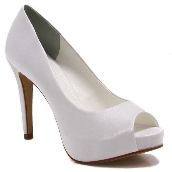 Sapato Feminino Peep Toe Zariff Shoes Noivas Branco 86040