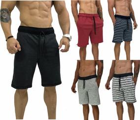 Kit 5 Bermudas Masculinas Moleton Rajado Shorts Preto Treino
