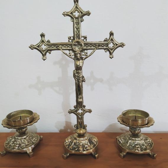 Kit 2 Castiçal E 1 Crucifixo