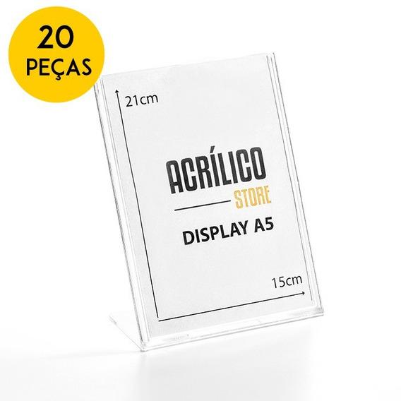 Display De Acrílico Tipo L Vertical A5 21x15cm Kit 20 Peças