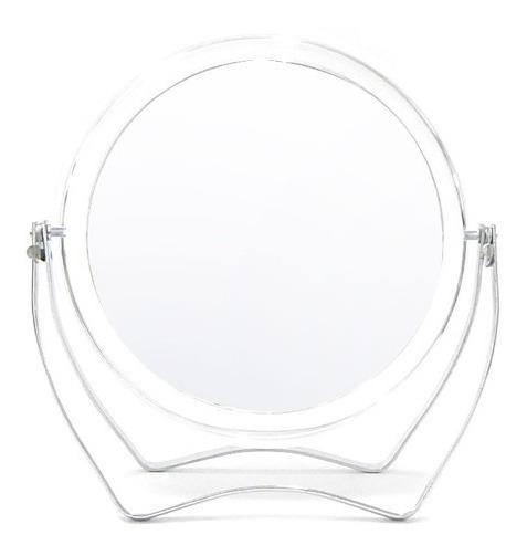 Espejo Reversible Con Aumento Y Pie Aluminio P/ Maquillaje