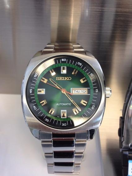 Relógio Seiko Masculino Automático Snkm97 Verde Aço Com Nf