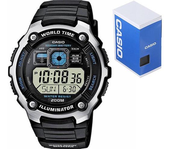 Reloj Casio Caballero Ae2000 Caucho Cristal Mineral - Sumergible - 40 Zonas Horarias