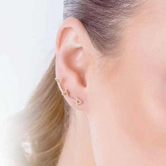 Brinco Semijoia Feminino Ear Cuff Triângulos Banho Ouro 18k