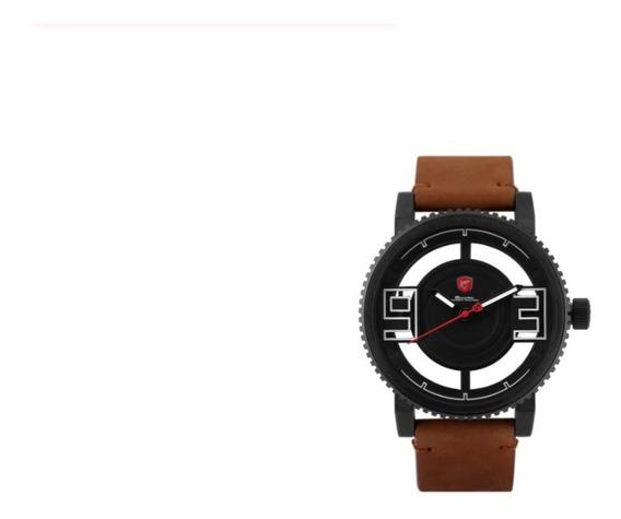 Relógio Masculino Shark Analógico Sf024l - Preto Couro