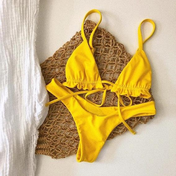 Vestido Traje De Baño Amarillo Talla M