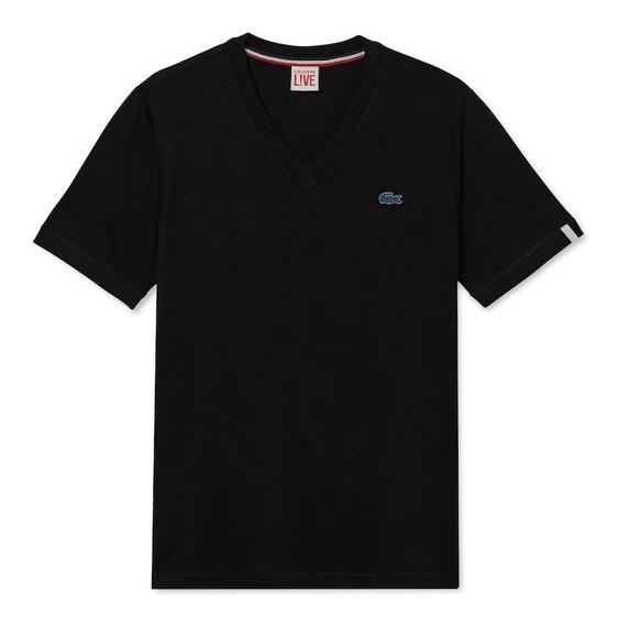 Camiseta Lacoste Unissex Decote V Live Em Jérsei De Algodão